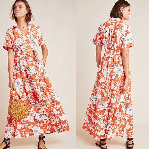 Anthropologie Dresses & Skirts - Anthropologie Janae Maxi Shirtdress Red Floral